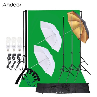 Andoer Photo Studio photographie Kit 45W ampoule mousseline Backdrop Stand E27 douille souple parapluie parapluie noir/or Set