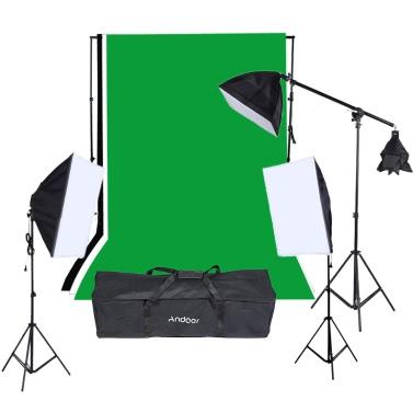 Fotografie-Studio-Portrait-Produkt Licht Lighting Zelt Kit-Foto-Video-Equipment (9 * 135W Glühbirne + 2 * Softbox mit 4 in 1 Lampenfassung + 1 * Softbox mit E27 Sockel Lampenfassung + 3 * leichte Ständer + 1 * freitragender Stick + Tragetasche)