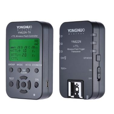 YONGNUO YN622N-KIT inalámbrico 100M de control remoto I-TTL disparador de destello del transceptor Par Kit para Nikon D70 D80 D90 D200 D300 réflex digitales