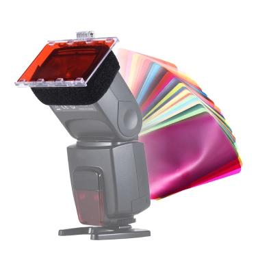 FalconEyes CFA-30K Speedlite Color Filter Gel Kit w/ Silver Reflector Adjustable Mount Base for Canon Nikon Yongnuo Godxo Flash Light w/ Carrying Bag,  30 Sheets
