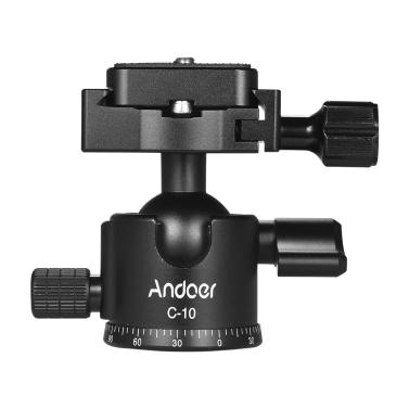 Andoer C-10 Aluminum Alloy Camera Tripod Ball Head Mini Ballhead Low Center Gravity +1pc Spare Quick Release Plate Canon Nikon Sony DSLR ILDC Cameras Max. Load 6kg Black