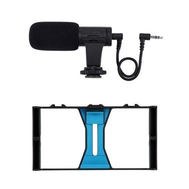 PULUZ Smartphone Camera Shooting Kit Handheld Filmmaking Video Rig + Video Microp Outdoor Shooting Live Broadcast