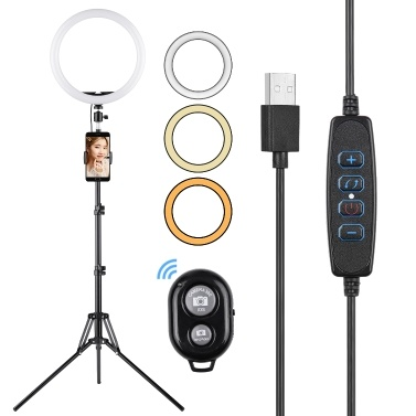 Andoer 12 Zoll LED Ring Lichter Ringlicht mit Telefonhalter Remote Shutter Stativ Lichtständer