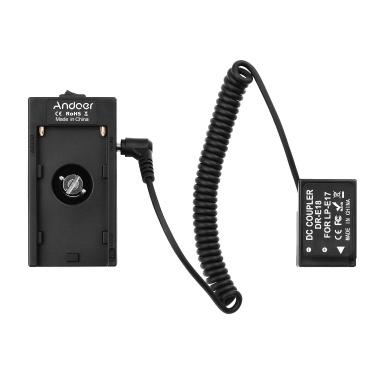 Andoer NP-F970 F750 Batterieplattenhalter-Adapter + LP-E6 Dummy-Batteriekoppler kompatibel