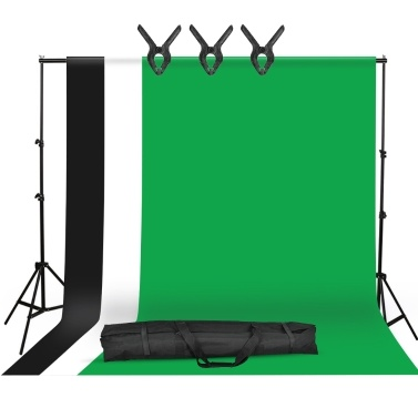 Studio Photography Backdrop Kit with 2 * 3m/6.6 * 10ft Metal Stand Bracket + 3pcs 1.6 * 3m/5.2 * 10ft Backdrops Backdround(Black/White/Green) + 3pcs Backdrop Clamps +   Carry Bag