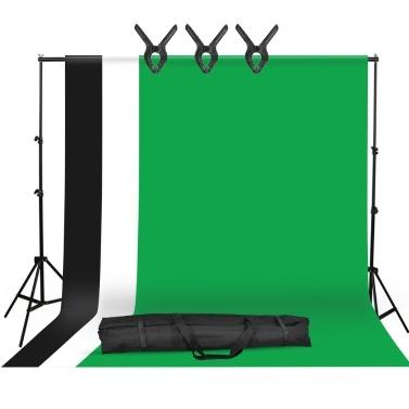 Studio Fotografie Hintergrund Kit mit 2 * 3m / 6,6 * 10ft Metall Standhalterung + 3 Stück 1,6 * 3m / 5,2 * 10ft Hintergrund Hintergrund (schwarz / weiß / grün) + 3 Stück Hintergrundklemmen + Tragetasche