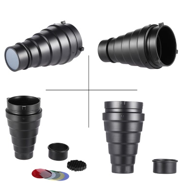 Metal Conical Snoot with Honeycomb Grid 5pcs Color Filter Kit for Bowens Mount Studio Strobe Monolight Photography Flash