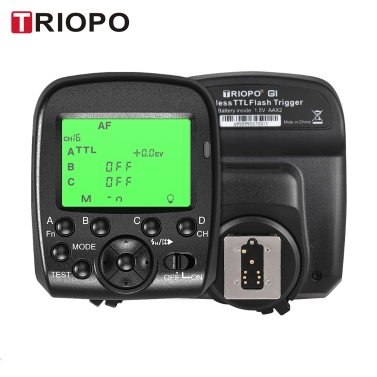 TRIOPO G1 Dual TTL Wireless Trigger with Widescreen LCD Display 1/8000s HSS 2.4G Wireless Transmission 16 Channels for Canon Nikon Series Cameras