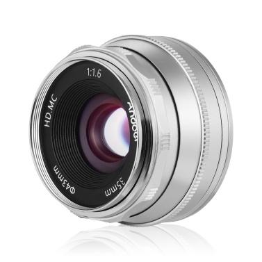 Andoer 35 mm F1.6 Objektiv mit manueller Fokussierung Objektiv mit großer Apertur und Mehrschicht-Filmbeschichtung ohne Spiegel E-Mount-Objektiv