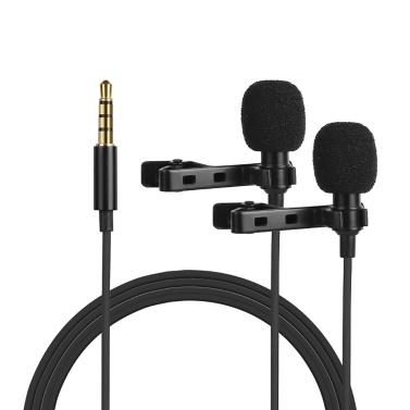 Microfone de lapela omnidirecional de microfone de lapela com condensador de eletreto com cabo TRRS 4m de 3,5 mm