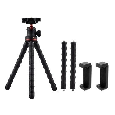 GIZOMOS GM-7 Flexible Tripod Holder Mini Portable Octopus Tripod Bracket with Ball Head/Phone Clip for Cellphone/Tablets/SLR DSLR ILDC Camera/DC/Sports Cameras
