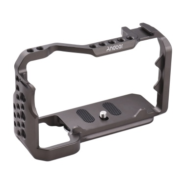 Andoer Camera Cage Camera Photography Accessory with Cold Shoe 1/4 Inch 3/8 Inch Screw Holes Replacement for Sony A7C