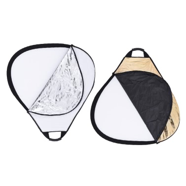 """Andoer 30""""/76cm Portable Handheld Triangle Collapsible 5in1 Multi Reflector with Gold/Sliver/White/Black/Translucent Colors for Photo Studio Photography"""