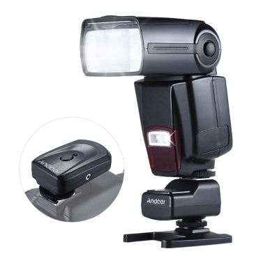 Andoer AD-560Ⅱ Universal-Blitz Speedlite On-Kamera Flash-GN50 w / Adjustable LED Light + Andoer Universal-Fill 16 Kanäle Radio-Wireless Remote Speedlite-Blitzauslöser