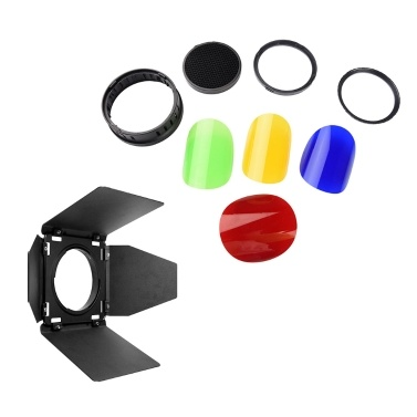 Godox BD08 Barn Door & Honeycomb Grid & 4 Color Gel Filters Kit