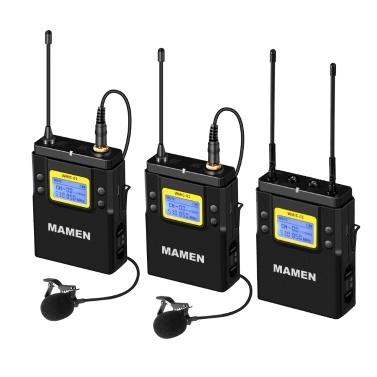 MAMEN WMIC-01 Professionelles digitales drahtloses UHF-Zweikanal-Mikrofonsystem