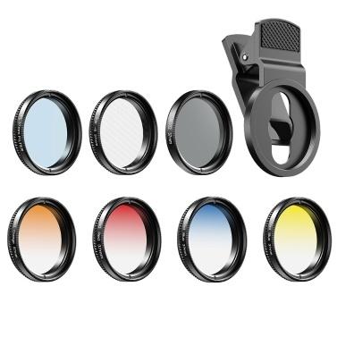 APEXEL APL-37UV-7G Professional 7in1 Phone Graduated Lens Filter Kit