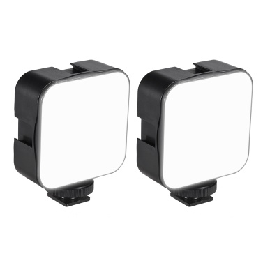 docooler Mini LED Video Light Photography Fill-in Lamp 6500K Dimmable 5W with Cold Shoe Mount Adapter Compatible with Canon Nikon Sony DSLR Camera, Pack of 2pcs