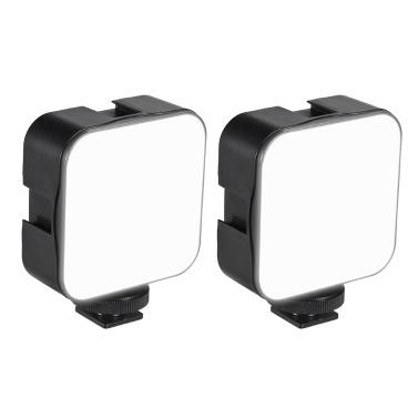 docooler Mini LED Videolicht Fotografie Einfülllampe 6500K Dimmbar 5W mit Cold Shoe Mount Adapter Kompatibel mit Canon Nikon Sony DSLR Kamera, Packung mit 2 Stück