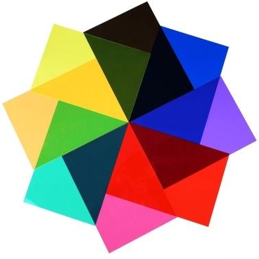 9pcs Transparent Lighting Color Correction Gel Sheets Filters Set