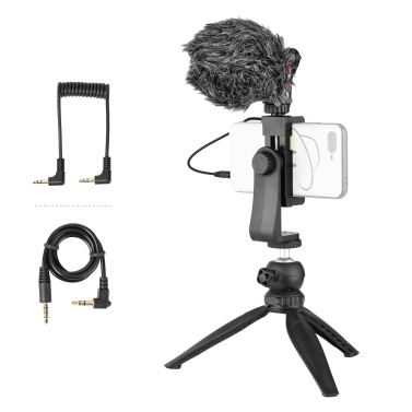 Mobile Phone Video Recording Kit Tabletop Tripod Phone Holder Cardioid-directional Condenser Microphone