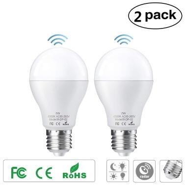 2PCS E27 7W LED Light Bulb with Motion Sensor Smart Light Radar Sensor