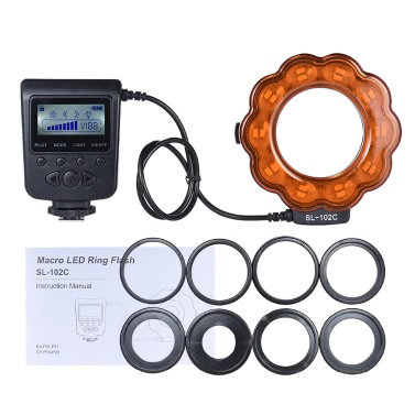 Andoer SL-102C GN15 Makro LED Ring Runde Flash-Fill-in-Licht-Lampe Helligkeit einstellbar LCD-Display für Canon Nikon Pentax Olympus DLSR Kamera 40.5mm / 52mm / 55mm / 58mm / 62mm / 67mm / 72mm / 77mm Objektiv Studio Fotografie