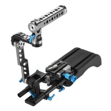 FOTGA DP500III 2 in 1 Standard Rosette ENG Griff Cage + Schulter-Rig Inklusive Schulterpolster + Handgriff + Bauplatte + 15mm Rod Schienen Video Stabilizer Film-Film-Design System Kit für Canon Sony Nikon DSLR-Kamera-Camcorder