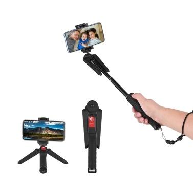 Erweiterbarer 4-teiliger Selfie-Stick Integriertes Tabletop-Stativ mit Handy-Fernbedienung für iPhone Samsung 5cm-10cm Breite Smartphones für GoPro Hero-Serie Action-Kamera ILDC-Kameras DVs