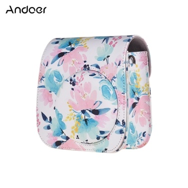 Andoer Camera Case Protective PU Leather Bag with Strap Accessories Pocket for Fujifilm Instax Mini 8/9 Instant Film Camera