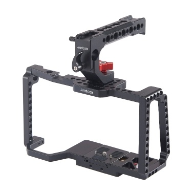 Andoer Camera Cage Video Stabilizer with Top Handle Grip Quick Release Plate 1/4 Inch 3/8 Inch Threaded Holes Cold Shoe Mount 15mm Rod Clamp Compatible with Blackmagic Pocket Cinema Camera 4K/6K BMPCC 4K 6K