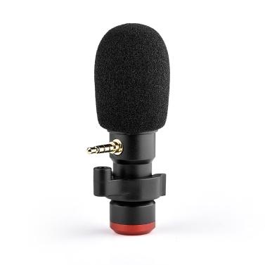 Andoer MIC06 Mini-Plug-in Smartphone-Mikrofon Mikrofon 3,5-mm-TRRS-Stecker für Smartphone-Videoaufzeichnung Live-Übertragung Online-Gesangs-Chat