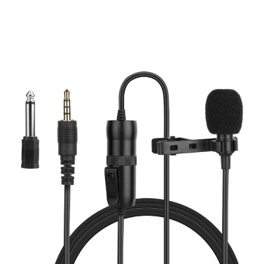 Omnidirektionales Elektretkondensator-Lavaliermikrofon mit 3,5 mm TRRS 6 m Kabel 6,35 mm Adapter
