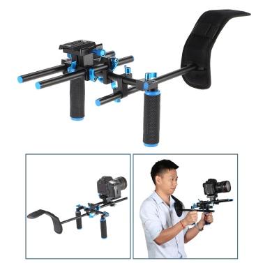 """Aluminium-Legierung Video Schulter Halterung unterstützt Takelage Stabilizer mit 1/4"""" Screw Mount Slider 15mm Stab eingestellten Double-Hand-Griff C-förmigen Halter für DSLR Kamera Camcorder"""