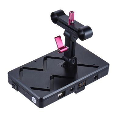 Eine andere AD-VFU2 V-Mount-V-Lock-Stromversorgung Batterie-Plate-System Kit USB 5V / 7,2V / 12V / 14,8V mit Dummy-Batterie DC-Kuppler 15mm Rod Clamp für Canon 5D2 5D3 DSLR Kamera BMCC BMPCC Camcorder-Monitor Mic