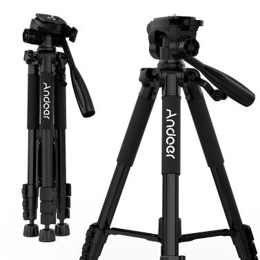 Andoer TTT-663N 57.5-Zoll-Reise-leichtes Kamerastativ für Fotografie-Videoaufnahmen Unterstützung DSLR SLR-Camcorder mit Tragetasche Telefonklammer max