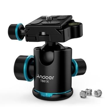"""Andoer TB81X三脚ボールヘッド360度回転パノラマボールヘッド三脚一脚スライダーDSLRカメラ用3個の1/4 """"に3/8""""ネジアダプター最大。 8Kg / 17.64Lbsをロード"""