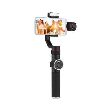 AFI V5 Portable 3-Achsen-Handheld Gimbal Handy-Video-Stabilisator mit Dimmable füllen Licht horizontale vertikale Aufnahme Zeitraffer Panorama-Aufnahme für unter 6 Zoll Smartphones für GoPro Hero 3/3 + / 4/5 Tragfähigkeit 75g-200g