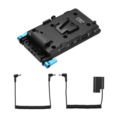 Andoer V Mount V-lock Battery Plate Adapter with 15mm Dual Hole Rod Clamp  NP-FZ100 Dummy Battery Replacement for Sony A7Ⅲ A7RⅢ A9 A7R Ⅳ A6600 Camera Video Light Monitor Audio Recorder Microphone