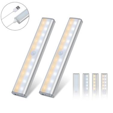 2PCS 20 LEDs Cabinet Lights Magnetic Removable Stick-On Motion Sensor Lights