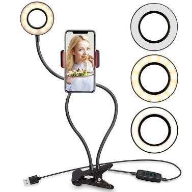 """3,5 """"Selfie-Ringlicht zum Aufstecken mit Handyhalter für Live-Stream-Make-up Flexible lange Arme Dimmbare Make-up-Lampe Schreibtisch Tischlampe LED-Fülllicht"""