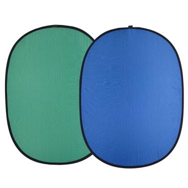 Andoer 1.5 * 2.0m Collapsible Nylon Blue & Green (2in1) Hintergrund-Hintergrund-Panel für Photo & Video Studio Fotografie