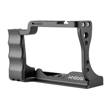 Andoer Camera Cage Aluminum Alloy with Cold Shoe Mount Compatible with Canon EOS M50 DSLR Camera