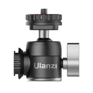 Ulanzi U-60 Mini-Kugelkopf aus Vollmetall mit zwei Verlängerungsmikrofonen für kalte Schuhe