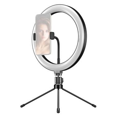 Andoer APL-FL10JJ13Y 10 Zoll dimmbares LED-Selfie-Ring-Videolicht