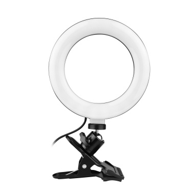 6.3 Inch 2700K-5500K Selfie Ring Video Light with Clamp Mount 3 Dimmable Colors 11 Brightness Levels 360 Degrees Rotatable