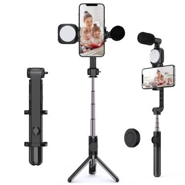 Andoer F3 Kit video per smartphone Rig video per telefono con luce video a LED ricaricabile + Mini microfono + Treppiede per selfie estensibile