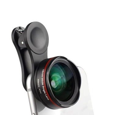 5K Ultra HD Smartphone Camera Lens 18mm 128° Wide-angle 15X Macro Phone Lens Distortionless with Universal Clip