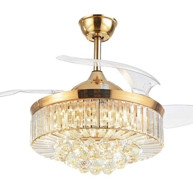 AC200-240V Y42-A099FJ 42 Inches Crystal Ceiling Fan Light LED Ceiling Light