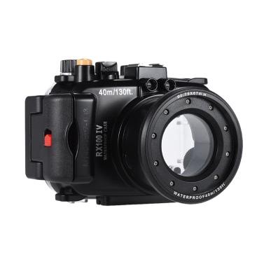 MEIKON SY-16 40m / 130ft Wasser wasserdichte Kamera-Gehäuse Schwarz Wasserdichte Kameratasche für Sony RX100 IV